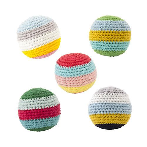 Crochet Striped Balls, with Beep (Set of 5)