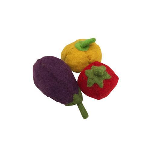 Felt Vegetable Trio- Pepper, Aubergine and Tomato