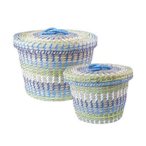 Seagrass Treasure Basket- Set of 2 Blue/Green Combi