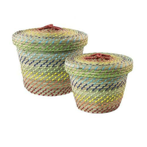 Seagrass Treasure Baskets- Red Combi